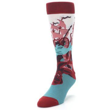 Image of Maroon Kraken Octopus Men's Dress Socks (side-2-front-07)