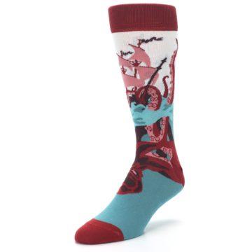 Image of Maroon Kraken Octopus Men's Dress Socks (side-2-front-08)