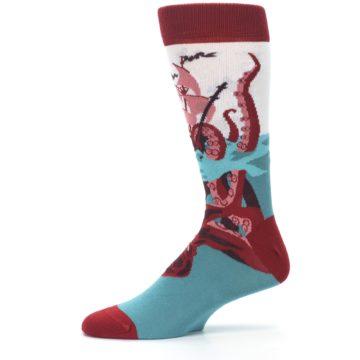 Image of Maroon Kraken Octopus Men's Dress Socks (side-2-11)