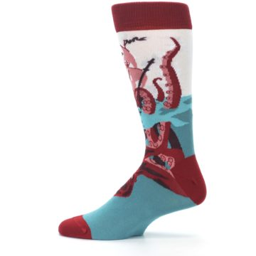 Image of Maroon Kraken Octopus Men's Dress Socks (side-2-12)