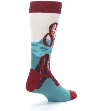 Image of Maroon Kraken Octopus Men's Dress Socks (side-1-back-22)