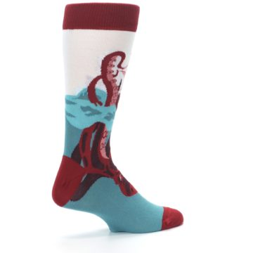 Image of Maroon Kraken Octopus Men's Dress Socks (side-1-23)