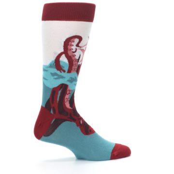 Image of Maroon Kraken Octopus Men's Dress Socks (side-1-24)