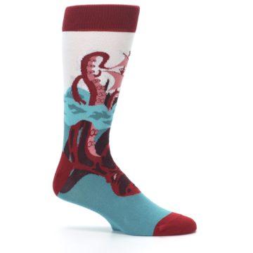 Image of Maroon Kraken Octopus Men's Dress Socks (side-1-25)