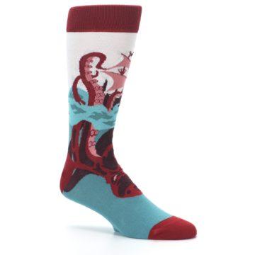 Image of Maroon Kraken Octopus Men's Dress Socks (side-1-26)