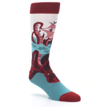Image of Maroon Kraken Octopus Men's Dress Socks (side-1-27)