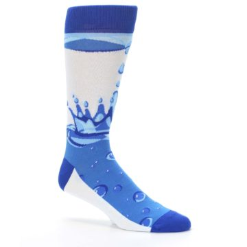 Image of Blue Water Droplet Men's Dress Socks (side-1-26)