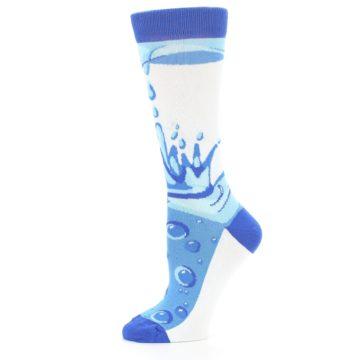 Image of Blue Water Droplet Women's Dress Socks (side-2-11)