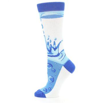 Image of Blue Water Droplet Women's Dress Socks (side-2-12)