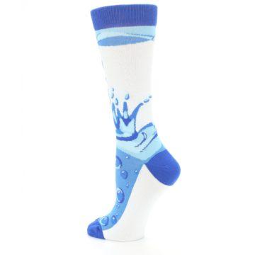 Image of Blue Water Droplet Women's Dress Socks (side-2-back-14)