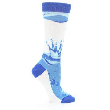 Image of Blue Water Droplet Women's Dress Socks (side-1-25)
