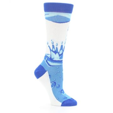 Image of Blue Water Droplet Women's Dress Socks (side-1-26)