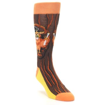 Image of Brown Kn-Owl-edge Men's Dress Socks (side-1-front-02)