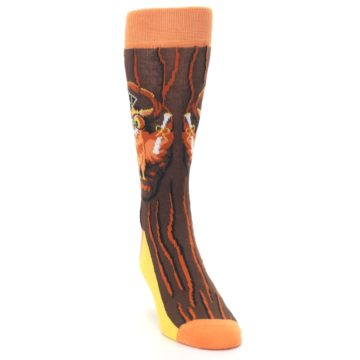 Image of Brown Kn-Owl-edge Men's Dress Socks (side-1-front-03)