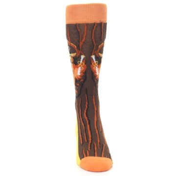 Image of Brown Kn-Owl-edge Men's Dress Socks (front-04)