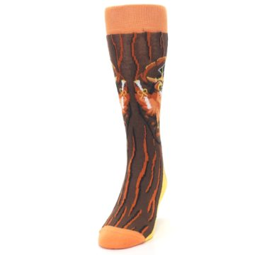 Image of Brown Kn-Owl-edge Men's Dress Socks (side-2-front-06)