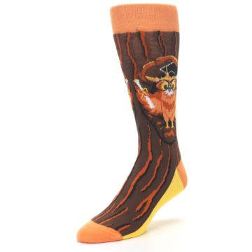 Image of Brown Kn-Owl-edge Men's Dress Socks (side-2-front-08)