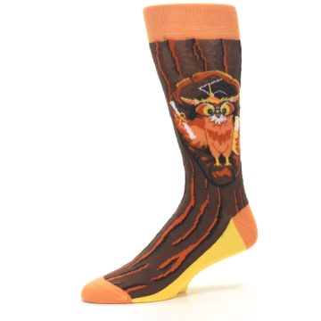 Image of Brown Kn-Owl-edge Men's Dress Socks (side-2-10)