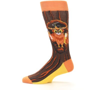 Image of Brown Kn-Owl-edge Men's Dress Socks (side-2-12)