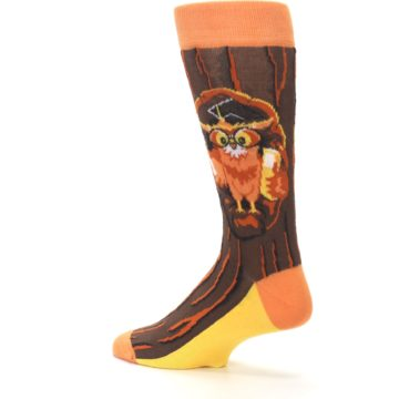 Image of Brown Kn-Owl-edge Men's Dress Socks (side-2-back-14)