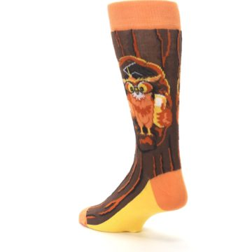 Image of Brown Kn-Owl-edge Men's Dress Socks (side-2-back-15)