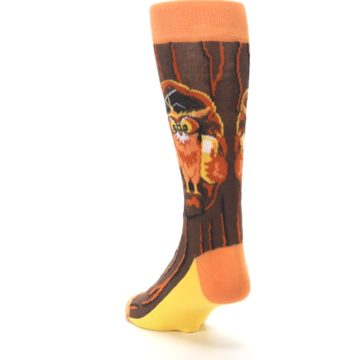 Image of Brown Kn-Owl-edge Men's Dress Socks (side-2-back-16)