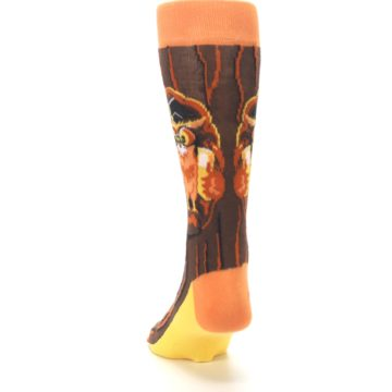 Image of Brown Kn-Owl-edge Men's Dress Socks (back-17)