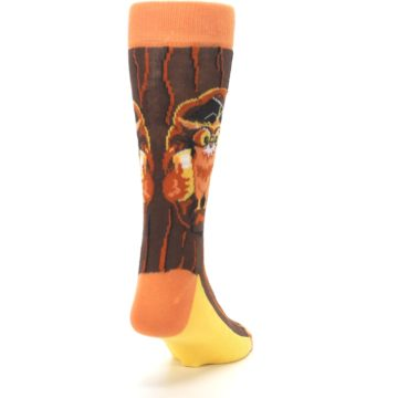 Image of Brown Kn-Owl-edge Men's Dress Socks (side-1-back-20)