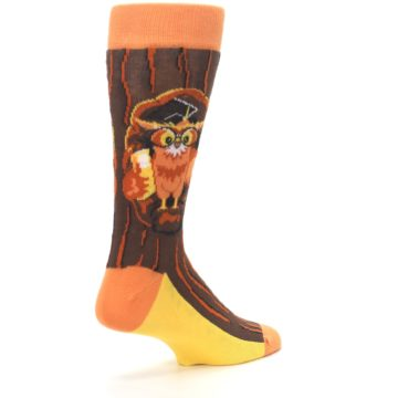 Image of Brown Kn-Owl-edge Men's Dress Socks (side-1-back-22)