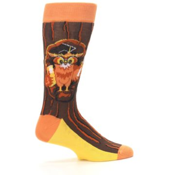 Image of Brown Kn-Owl-edge Men's Dress Socks (side-1-24)