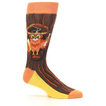 Image of Brown Kn-Owl-edge Men's Dress Socks (side-1-25)