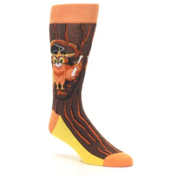 Image of Brown Kn-Owl-edge Men's Dress Socks (side-1-27)