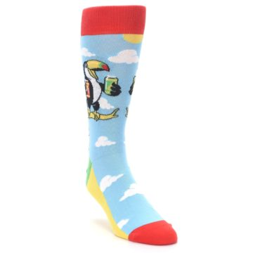 Image of Blue Two-Can Toucan Bird Men's Dress Socks (side-1-front-02)