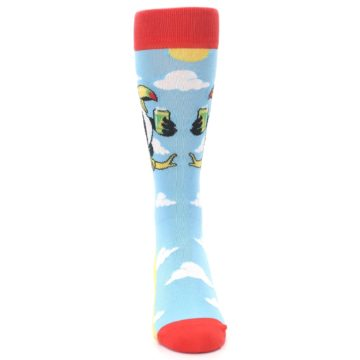 Image of Blue Two-Can Toucan Bird Men's Dress Socks (front-04)
