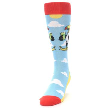 Image of Blue Two-Can Toucan Bird Men's Dress Socks (side-2-front-06)