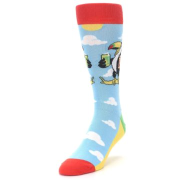 Image of Blue Two-Can Toucan Bird Men's Dress Socks (side-2-front-07)