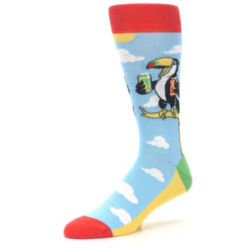 Image of Blue Two-Can Toucan Bird Men's Dress Socks (side-2-09)