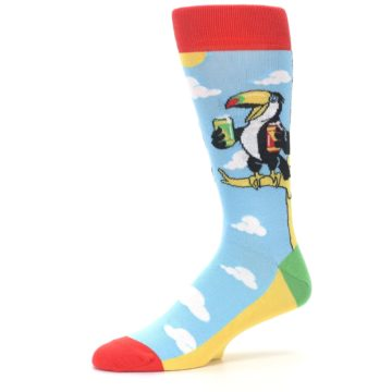 Image of Blue Two-Can Toucan Bird Men's Dress Socks (side-2-10)