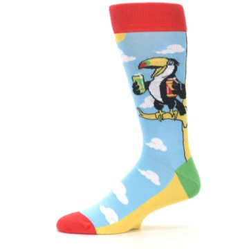 Image of Blue Two-Can Toucan Bird Men's Dress Socks (side-2-11)
