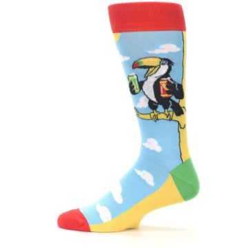 Image of Blue Two-Can Toucan Bird Men's Dress Socks (side-2-12)