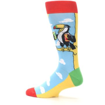 Image of Blue Two-Can Toucan Bird Men's Dress Socks (side-2-13)