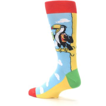 Image of Blue Two-Can Toucan Bird Men's Dress Socks (side-2-back-14)