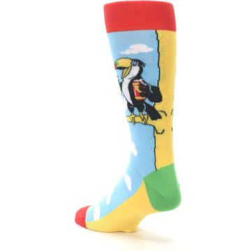Image of Blue Two-Can Toucan Bird Men's Dress Socks (side-2-back-15)