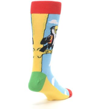 Image of Blue Two-Can Toucan Bird Men's Dress Socks (side-1-back-21)