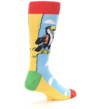 Image of Blue Two-Can Toucan Bird Men's Dress Socks (side-1-back-22)