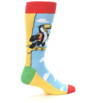 Image of Blue Two-Can Toucan Bird Men's Dress Socks (side-1-23)