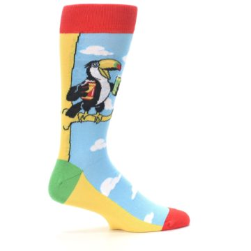 Image of Blue Two-Can Toucan Bird Men's Dress Socks (side-1-24)