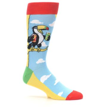 Image of Blue Two-Can Toucan Bird Men's Dress Socks (side-1-25)