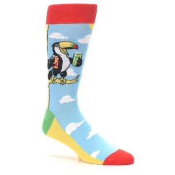 Image of Blue Two-Can Toucan Bird Men's Dress Socks (side-1-26)