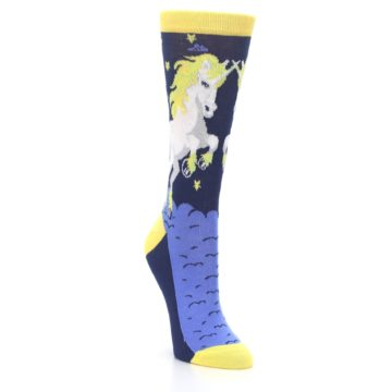 Image of Navy Yellow Unicorn Women's Dress Socks (side-1-front-02)